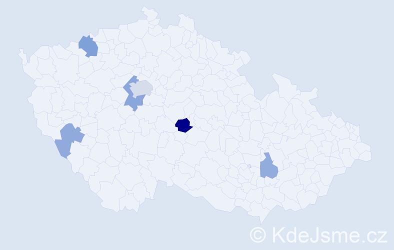 Příjmení: 'Bránik', počet výskytů 12 v celé ČR