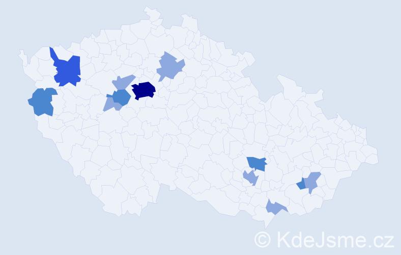 Příjmení: 'Čillíková', počet výskytů 22 v celé ČR