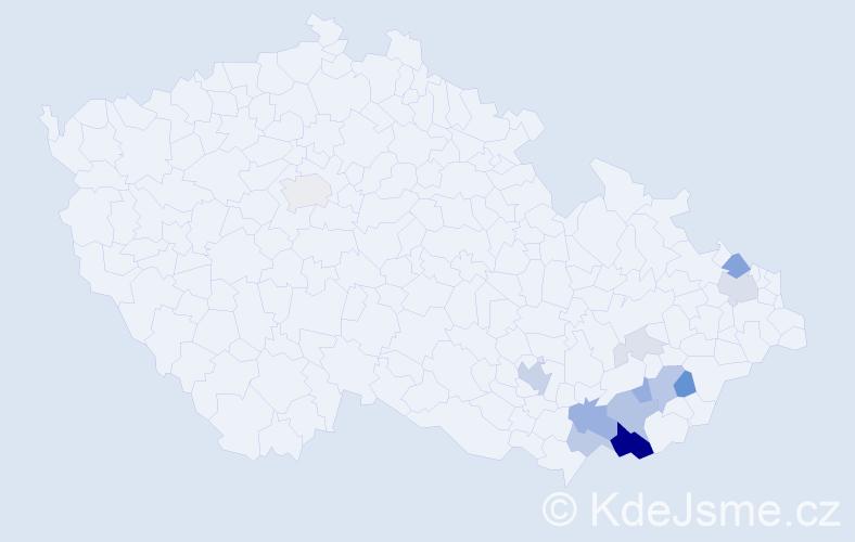 Příjmení: 'Búřil', počet výskytů 43 v celé ČR