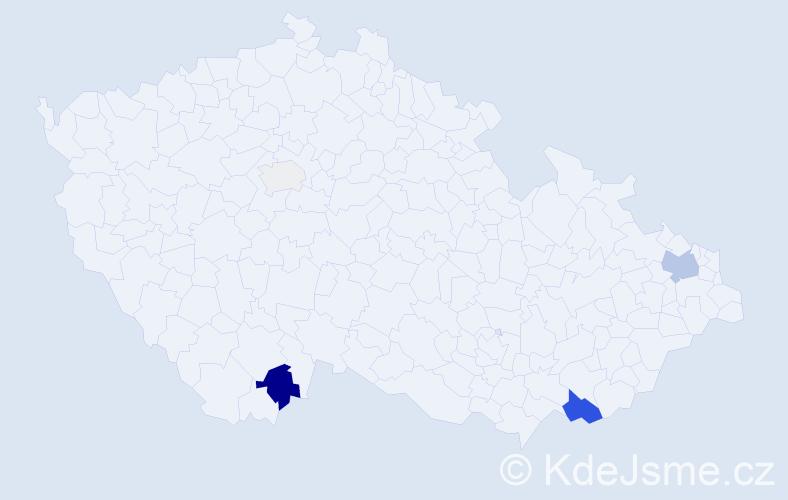 Příjmení: 'Gloznek', počet výskytů 12 v celé ČR
