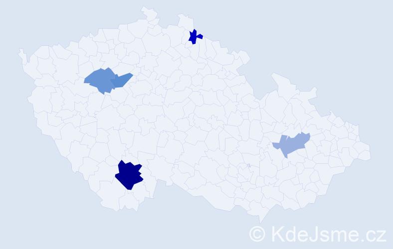 Příjmení: 'Částová', počet výskytů 21 v celé ČR