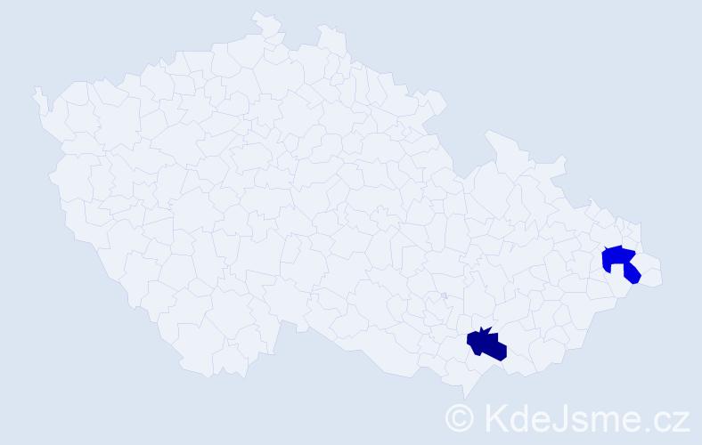 Příjmení: 'Majvitorová', počet výskytů 7 v celé ČR