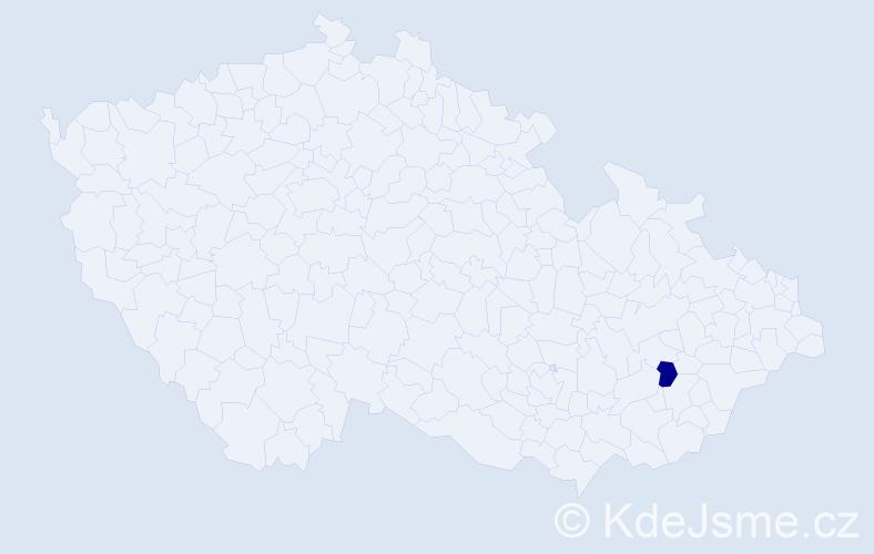 """Příjmení: '""""De Bono""""', počet výskytů 1 v celé ČR"""