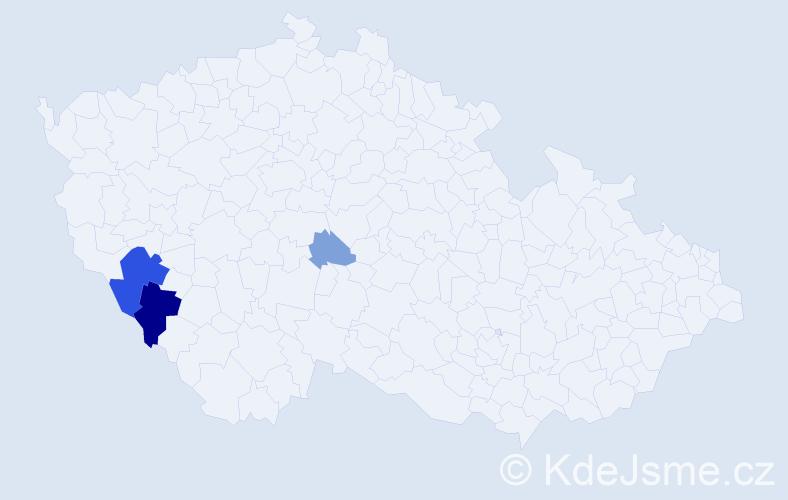 Příjmení: 'Blahouš', počet výskytů 18 v celé ČR
