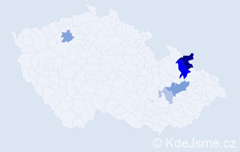 Příjmení: 'Čoveja', počet výskytů 12 v celé ČR