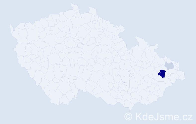 Příjmení: 'Hessek', počet výskytů 4 v celé ČR