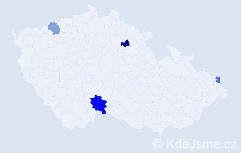 Příjmení: 'Kapová', počet výskytů 6 v celé ČR