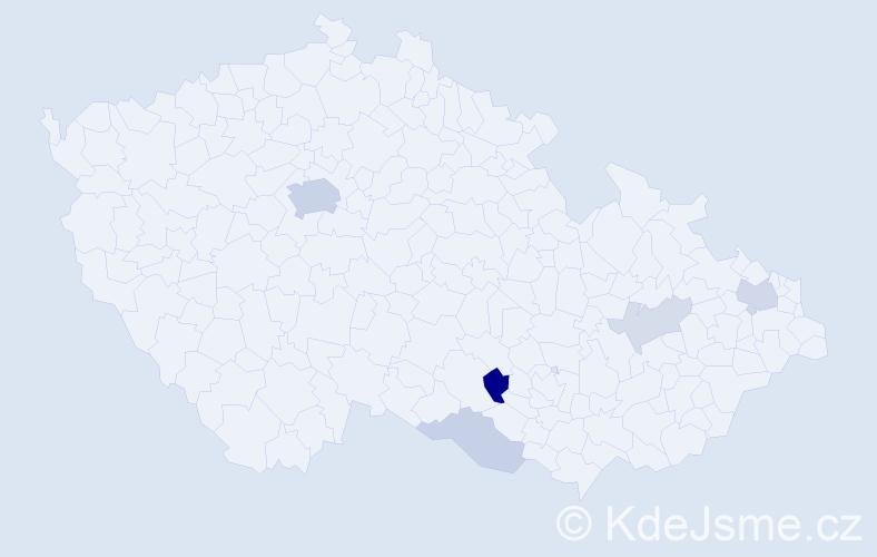 Příjmení: 'Árvai', počet výskytů 14 v celé ČR