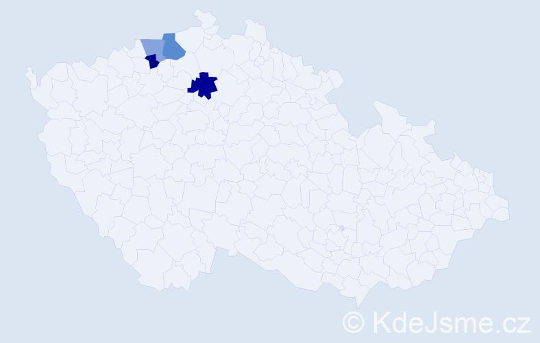 Příjmení: 'Hartlichová', počet výskytů 6 v celé ČR