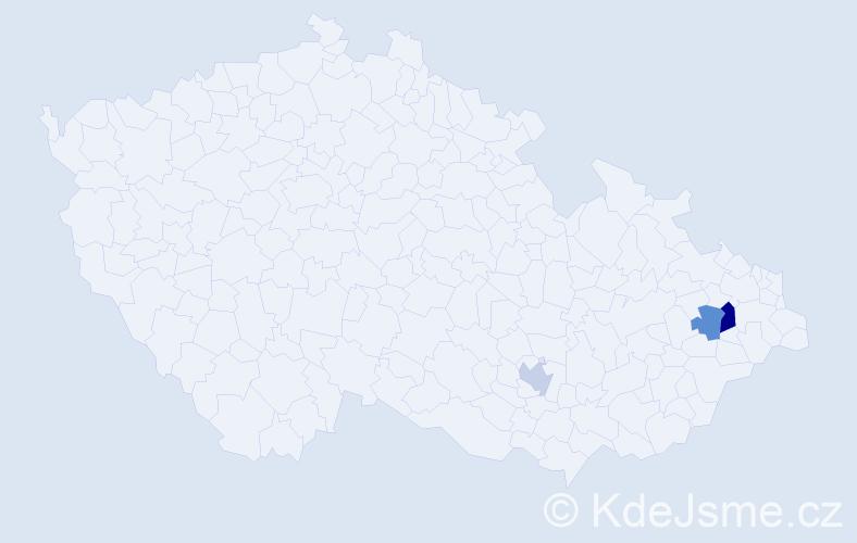 Příjmení: 'Kubacka', počet výskytů 4 v celé ČR
