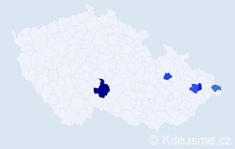 Příjmení: 'Cieslár', počet výskytů 10 v celé ČR