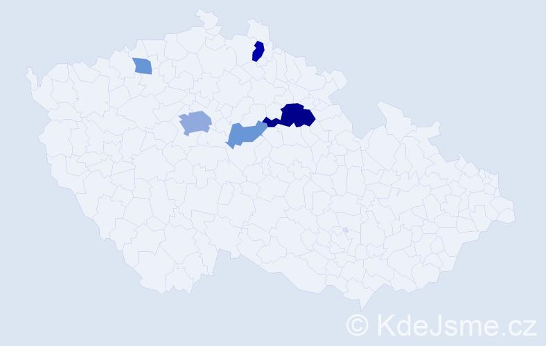 Příjmení: 'Lajdar', počet výskytů 13 v celé ČR