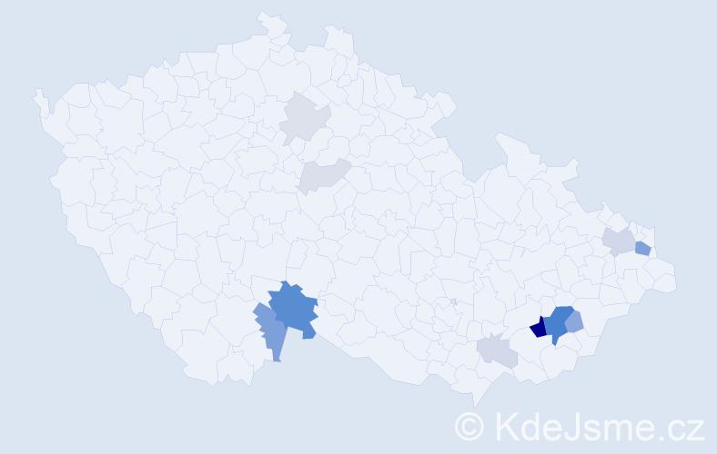 Příjmení: 'Klhůfek', počet výskytů 44 v celé ČR
