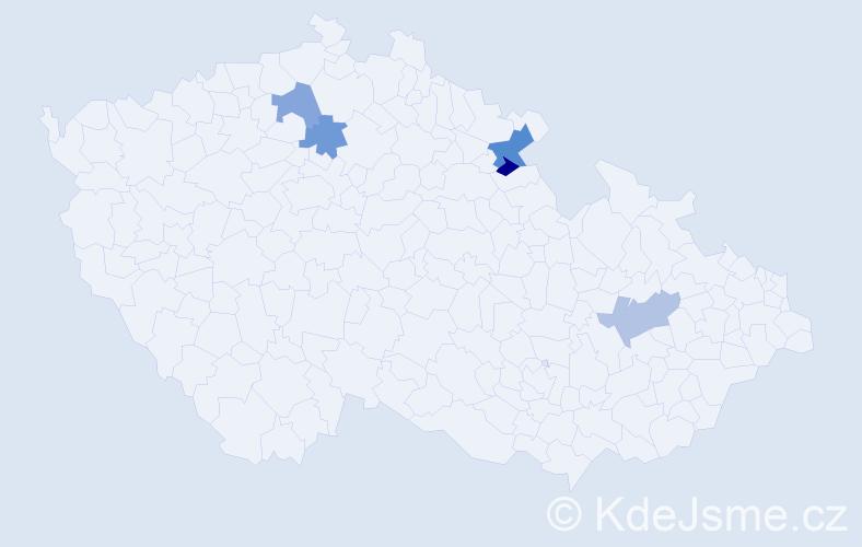 Příjmení: 'Gécziová', počet výskytů 6 v celé ČR