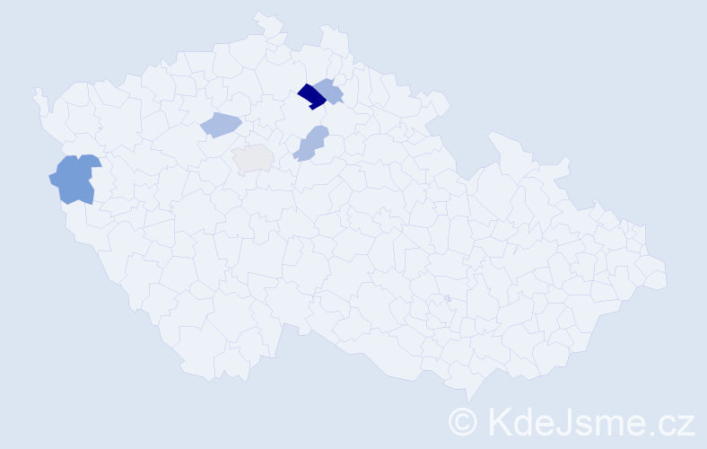 Příjmení: 'Jíleček', počet výskytů 10 v celé ČR