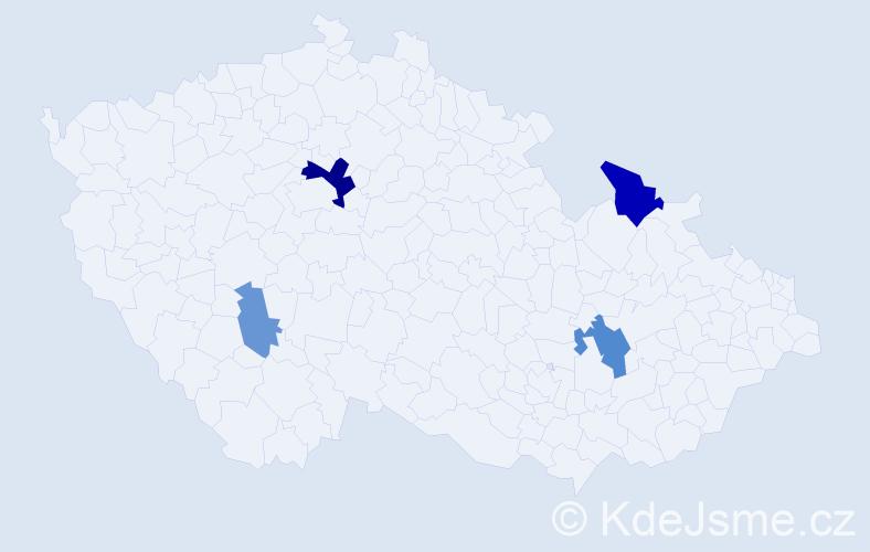 Příjmení: 'Lavicová', počet výskytů 9 v celé ČR