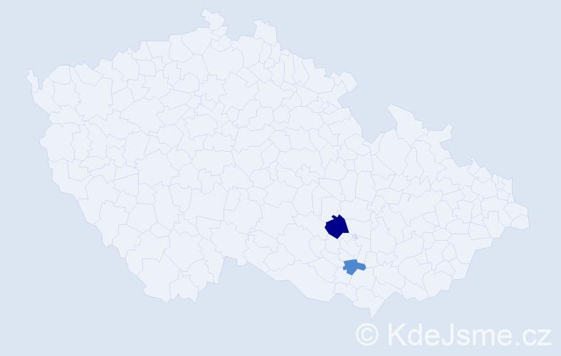 Příjmení: 'Jahorná', počet výskytů 3 v celé ČR