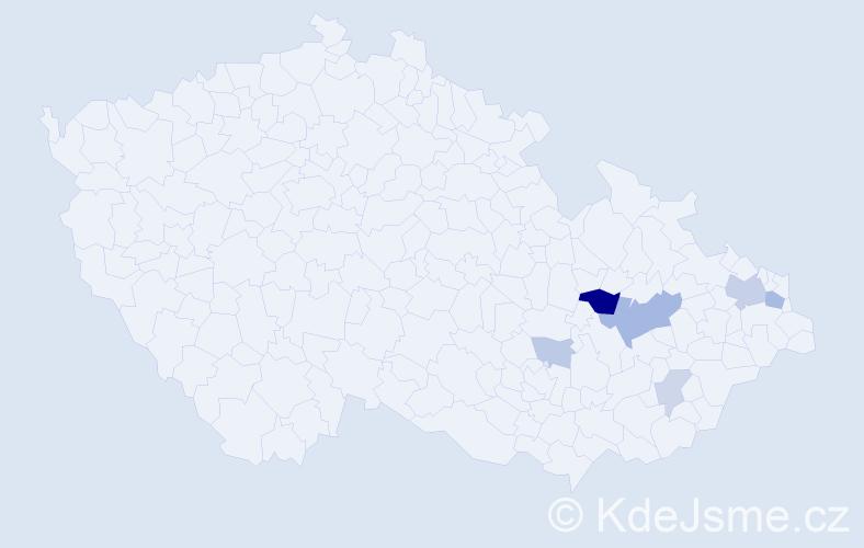 Příjmení: 'Endelová', počet výskytů 14 v celé ČR