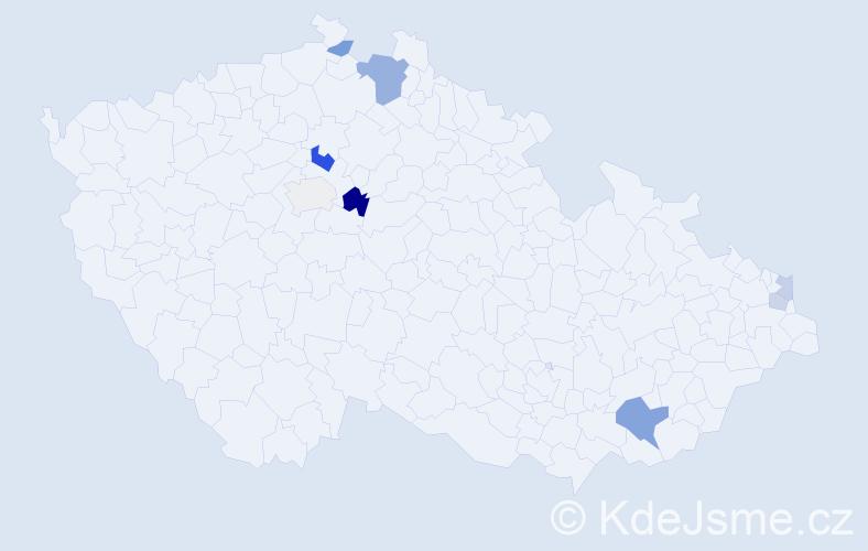 Příjmení: 'Chovaňáková', počet výskytů 16 v celé ČR