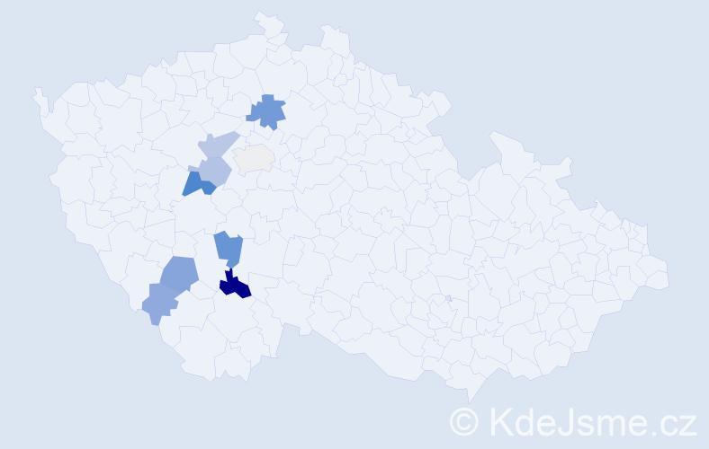 Příjmení: 'Kluiber', počet výskytů 24 v celé ČR