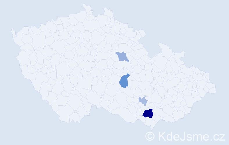 Příjmení: 'Barcalík', počet výskytů 6 v celé ČR