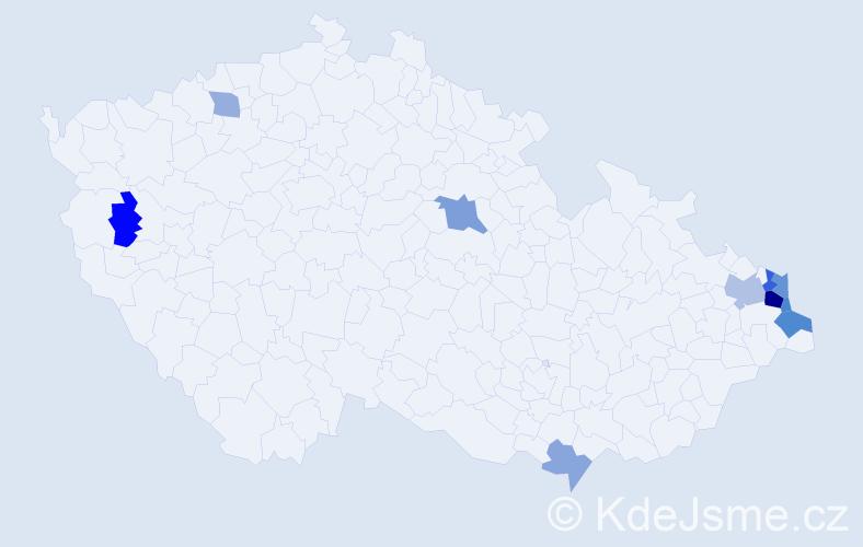 Příjmení: 'Filipiaková', počet výskytů 20 v celé ČR