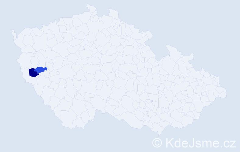 Příjmení: 'Inderholc', počet výskytů 10 v celé ČR