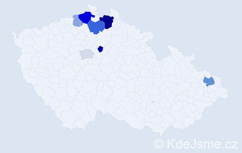 Příjmení: 'Maliariková', počet výskytů 18 v celé ČR