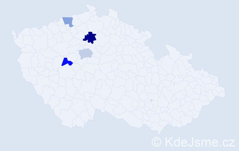 Příjmení: 'Haugwitzová', počet výskytů 7 v celé ČR