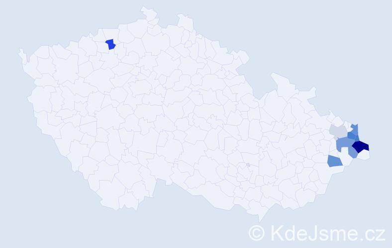 Příjmení: 'Janczyk', počet výskytů 15 v celé ČR