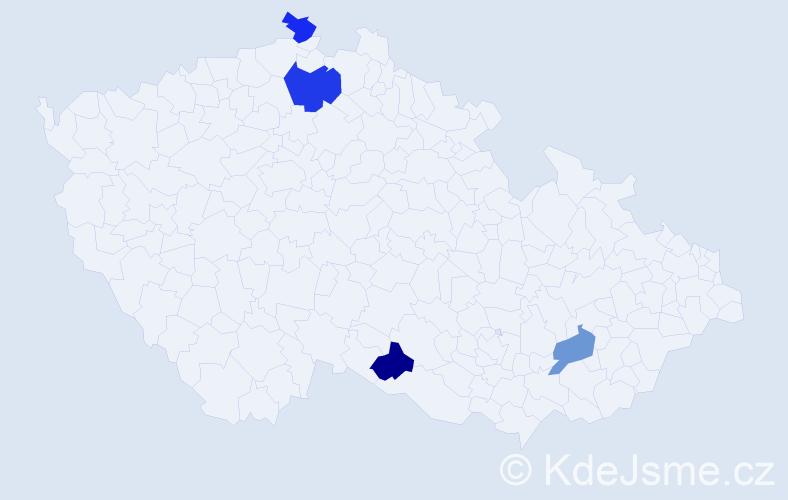 Příjmení: 'Hamžíková', počet výskytů 5 v celé ČR
