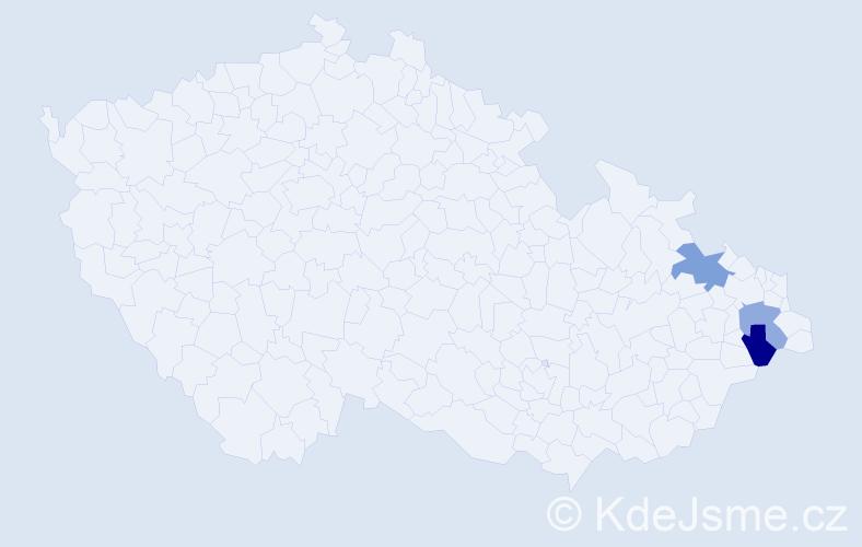 Příjmení: 'Kutty', počet výskytů 11 v celé ČR