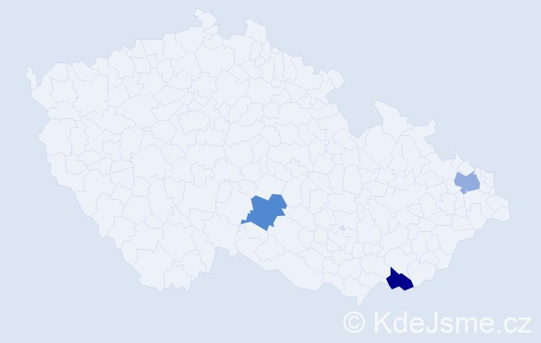 Příjmení: 'Lában', počet výskytů 3 v celé ČR
