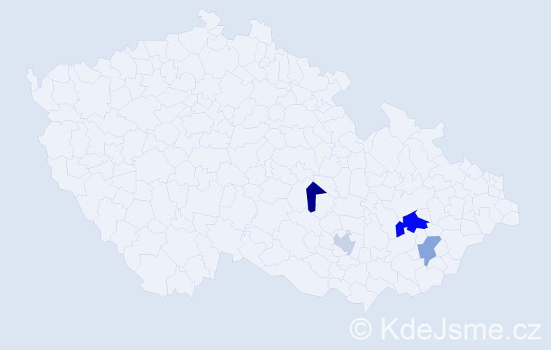 Příjmení: 'Evanžinová', počet výskytů 6 v celé ČR