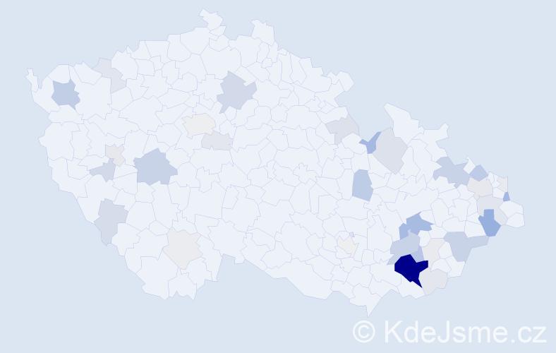 Příjmení: 'Grebeňová', počet výskytů 128 v celé ČR