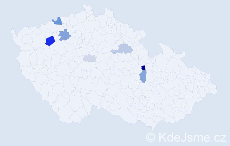 Příjmení: 'Bočkaj', počet výskytů 21 v celé ČR