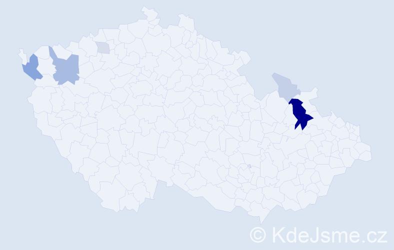 Příjmení: 'Bandryová', počet výskytů 18 v celé ČR
