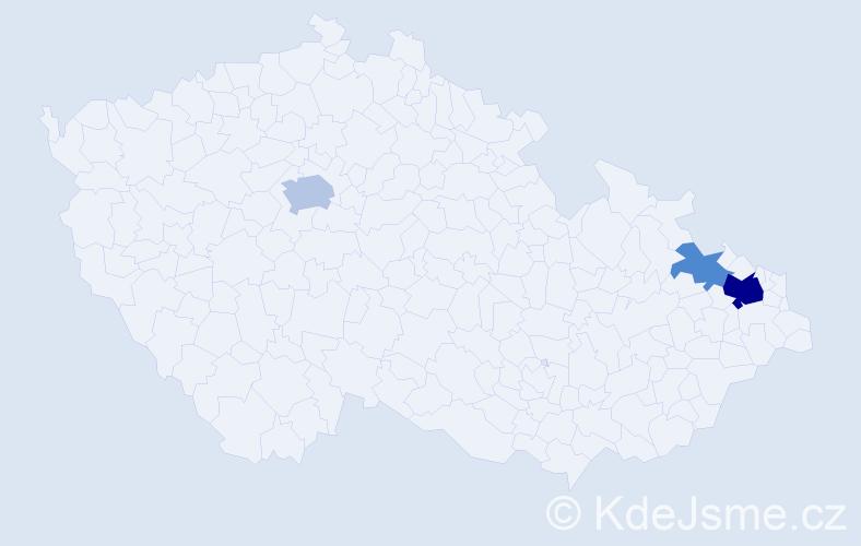 Příjmení: 'Czaderna', počet výskytů 8 v celé ČR