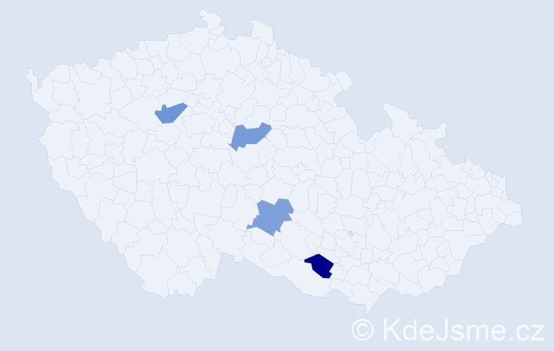Příjmení: 'Hefrová', počet výskytů 9 v celé ČR