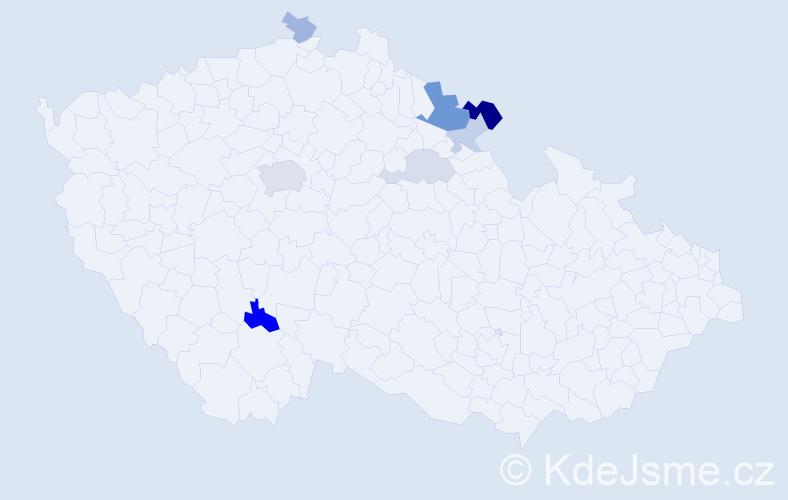 Příjmení: 'Cejzlar', počet výskytů 17 v celé ČR