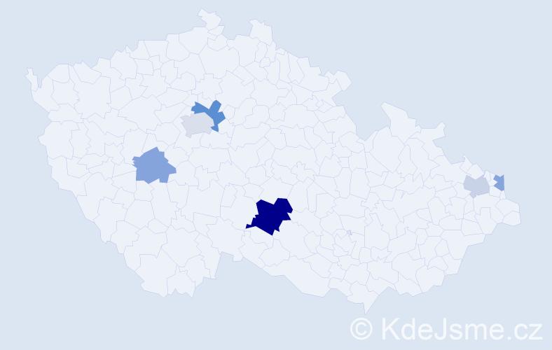 Příjmení: 'Lacenová', počet výskytů 12 v celé ČR