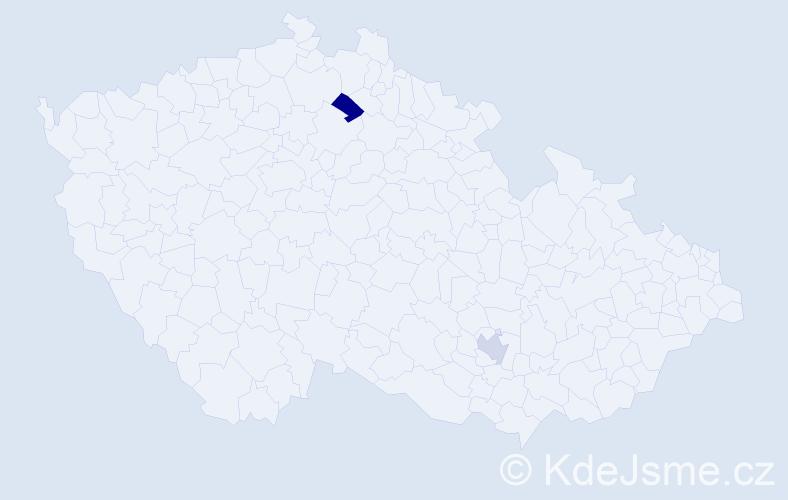 """Příjmení: '""""El Ammarti""""', počet výskytů 2 v celé ČR"""