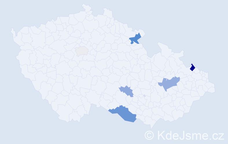 Příjmení: 'Ďurišková', počet výskytů 16 v celé ČR