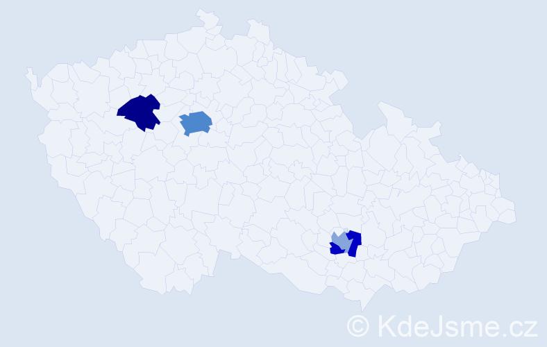Příjmení: 'Kalčevová', počet výskytů 9 v celé ČR