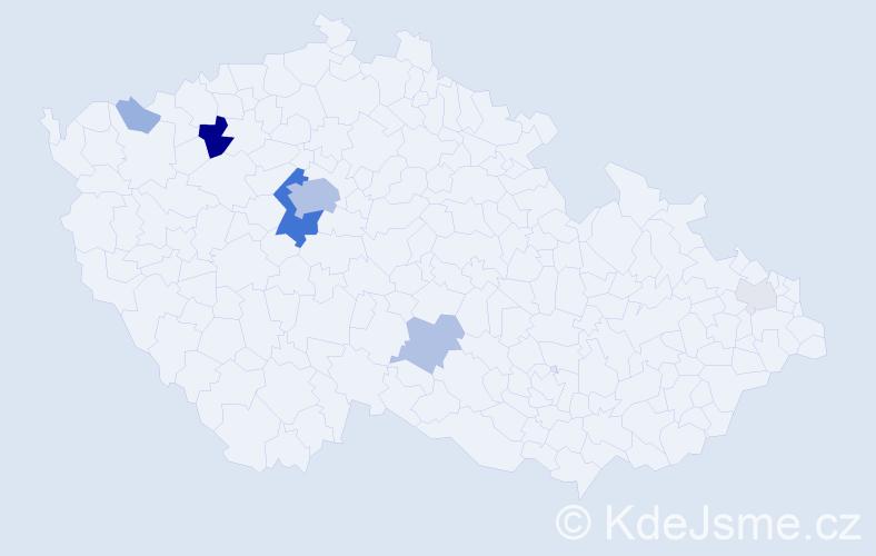 Příjmení: 'Kubelík', počet výskytů 34 v celé ČR