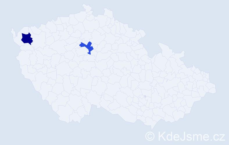 Příjmení: 'Hubaty', počet výskytů 5 v celé ČR