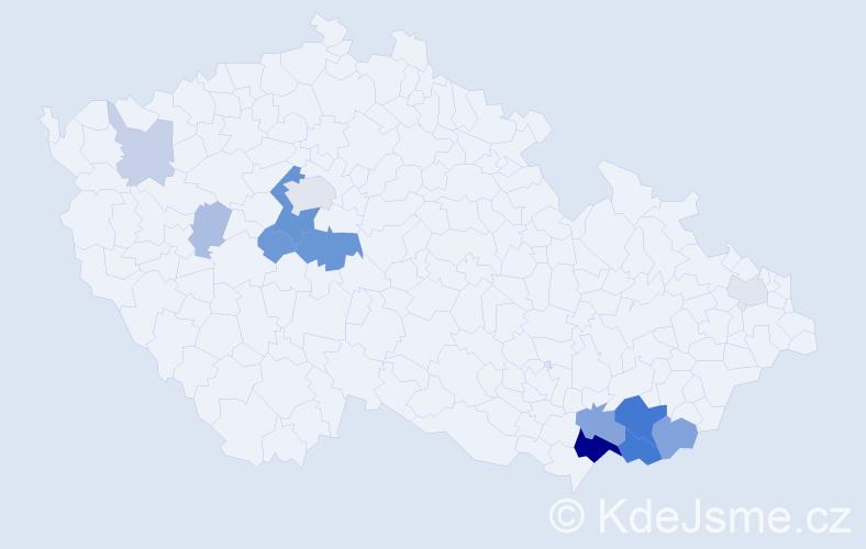 Příjmení: 'Benovičová', počet výskytů 37 v celé ČR