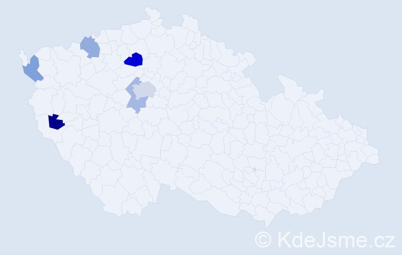 Příjmení: 'Fedorova', počet výskytů 9 v celé ČR