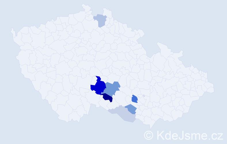 Příjmení: 'Cáhová', počet výskytů 18 v celé ČR