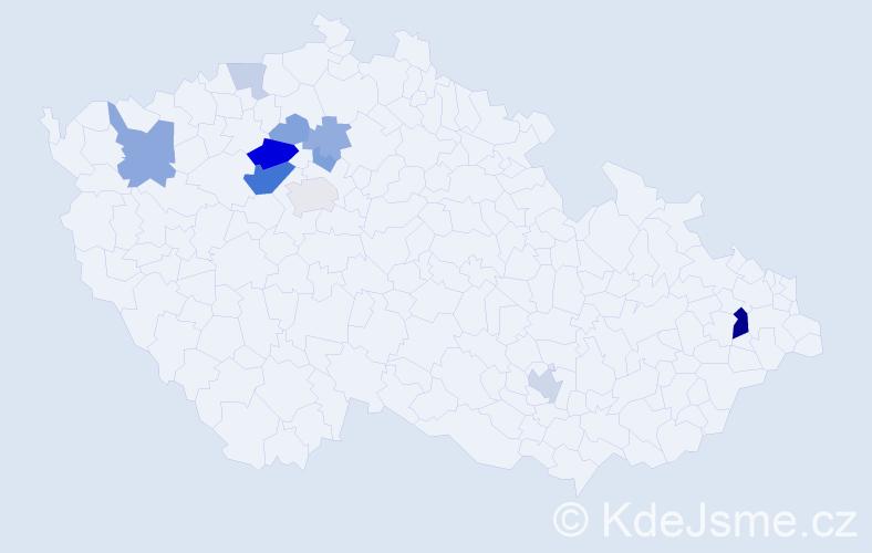 Příjmení: 'Enčev', počet výskytů 25 v celé ČR